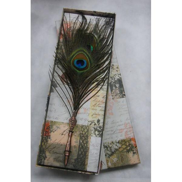 Peacock feather ball pen