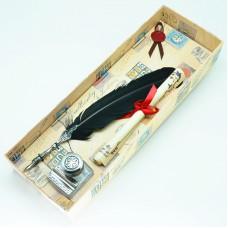 Turkey feather dip pen & glass inkpot set