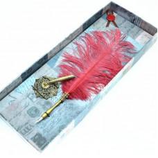 Ostrich feather dip pen & metal pen stand set