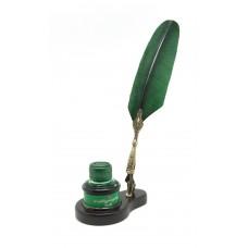 Turkey feather dip pen, wooden pen stand & inkpot set