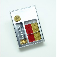Wax seal set, alloy seal with 4 sticks mini wicked sealing wax