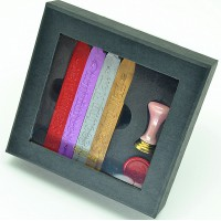 Wax seal set, ceramic seal with 4 sticks wicked sealing wax
